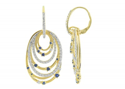 CR-Sapphire/ CZ Leverback Earrings (E-100000MUL-Y) in Silver/GoldPlated - Product Image