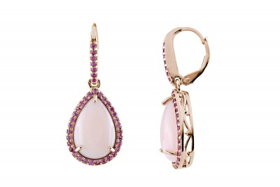 Pink Opal / Pink Sapphire Leverback Earrings (E-9833MUL-P) In Silver - Product Image
