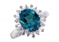 London Blue Topaz Ring (R-10519MULT-W) in Silver - Product Image